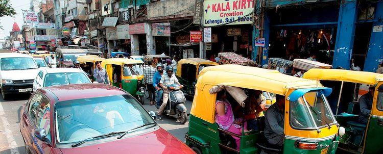 Old Delhi Verkehr Autorickshaw Tuk-Tuk
