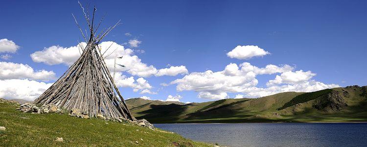 Landschaft See Schamanismus Mongolei