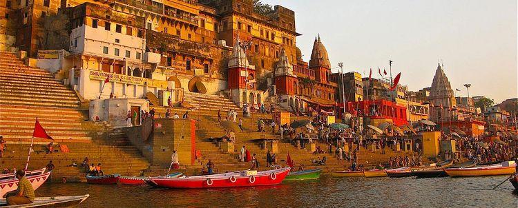 Sonnenaufgang Ghat Totenverbrennungsplatz Varanasi Uttar Pradesh