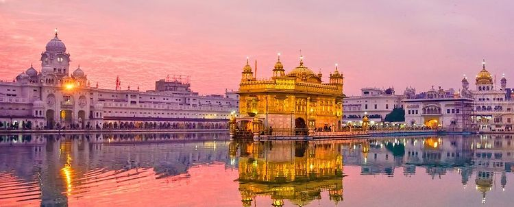 Golden Temple Amritsar Sonnenuntergang Punjab indien